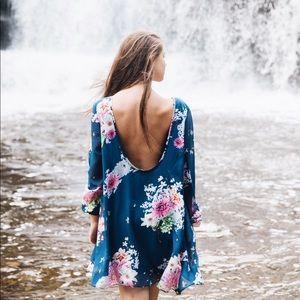 Floral Blue Low Back Mini Dress